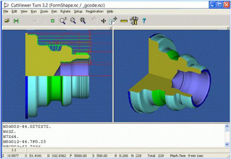 CutViewer Mill Turn CNC Simulator Software Program